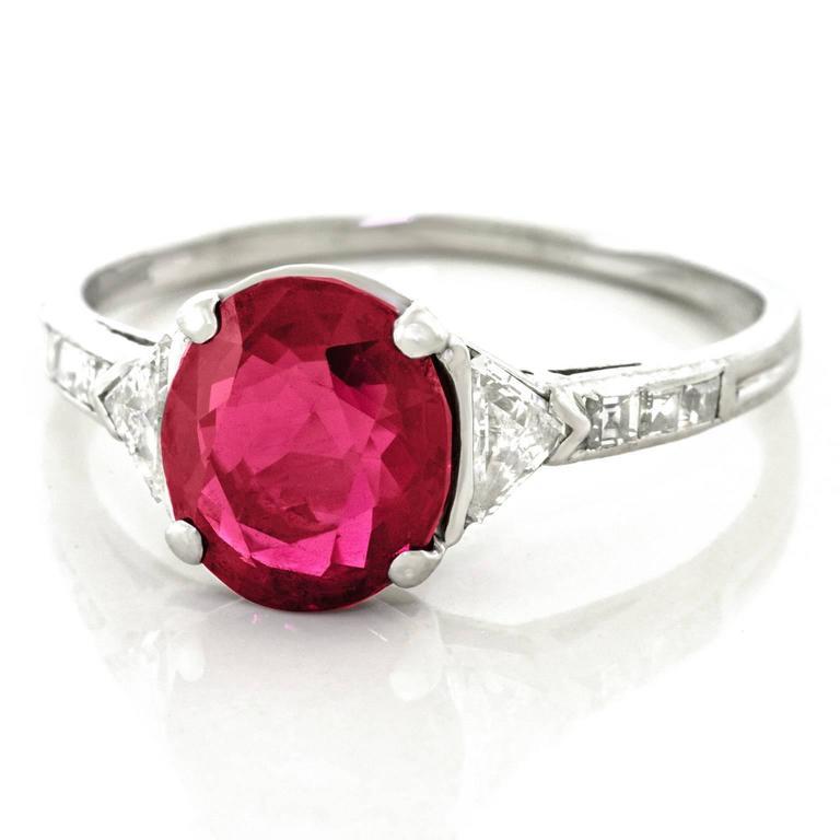 Tiffany & Co. Art Deco No-Heat Mogok Burma Ruby & Diamond Platinum Ring $88,000