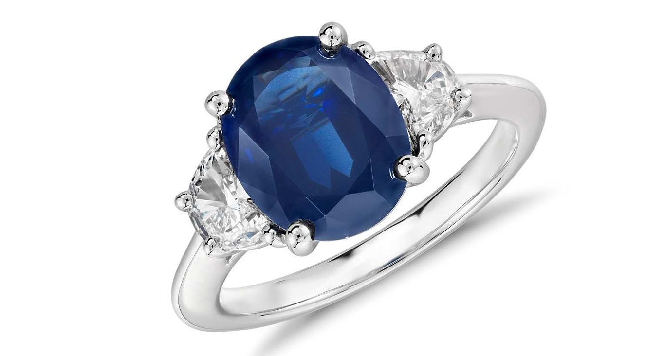 Oval Sapphire and Diamond Ring in Platinum