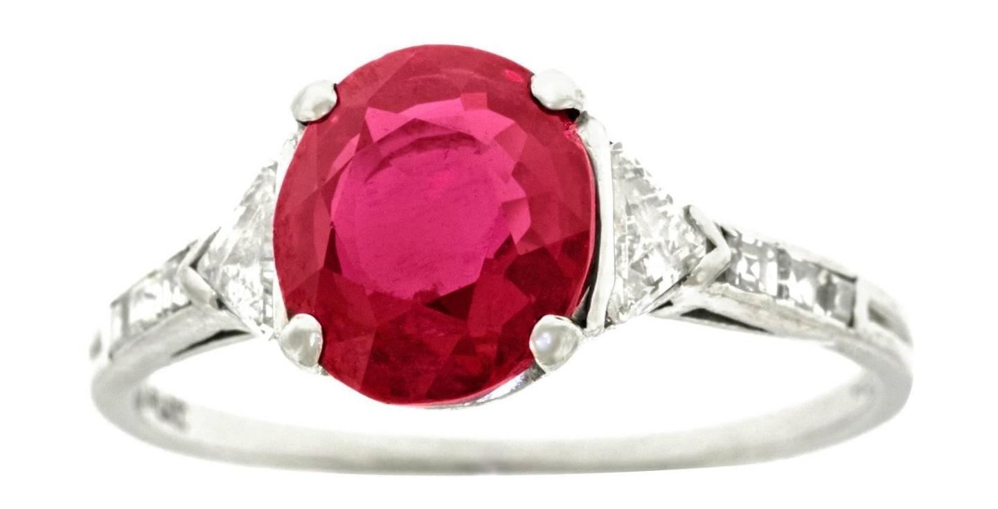 A Gorgeous Tiffany & Co. Art Deco No-Heat Mogok Burma Ruby & Diamond Platinum Ring Circa 1920-30s