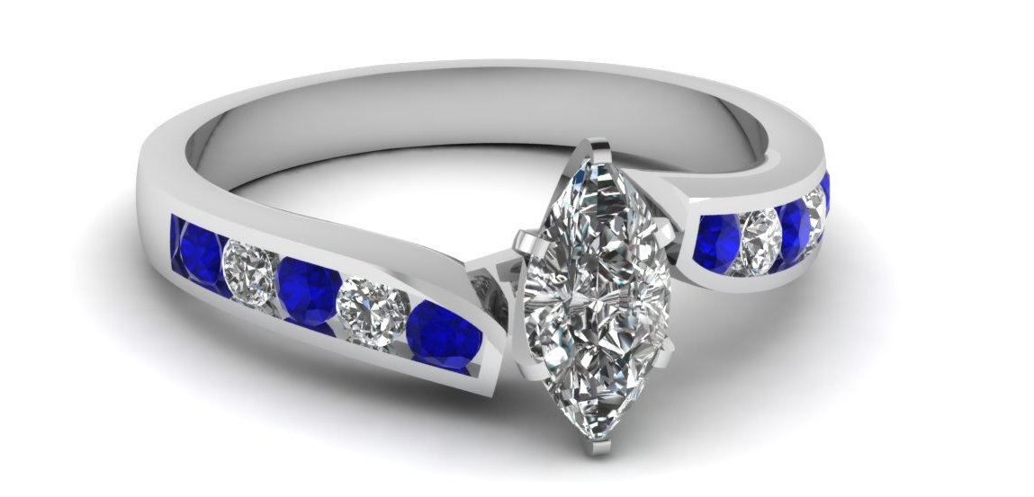Gold Engagement Ring 3/4 Carat Marquise Cut Diamond & Blue Sapphire
