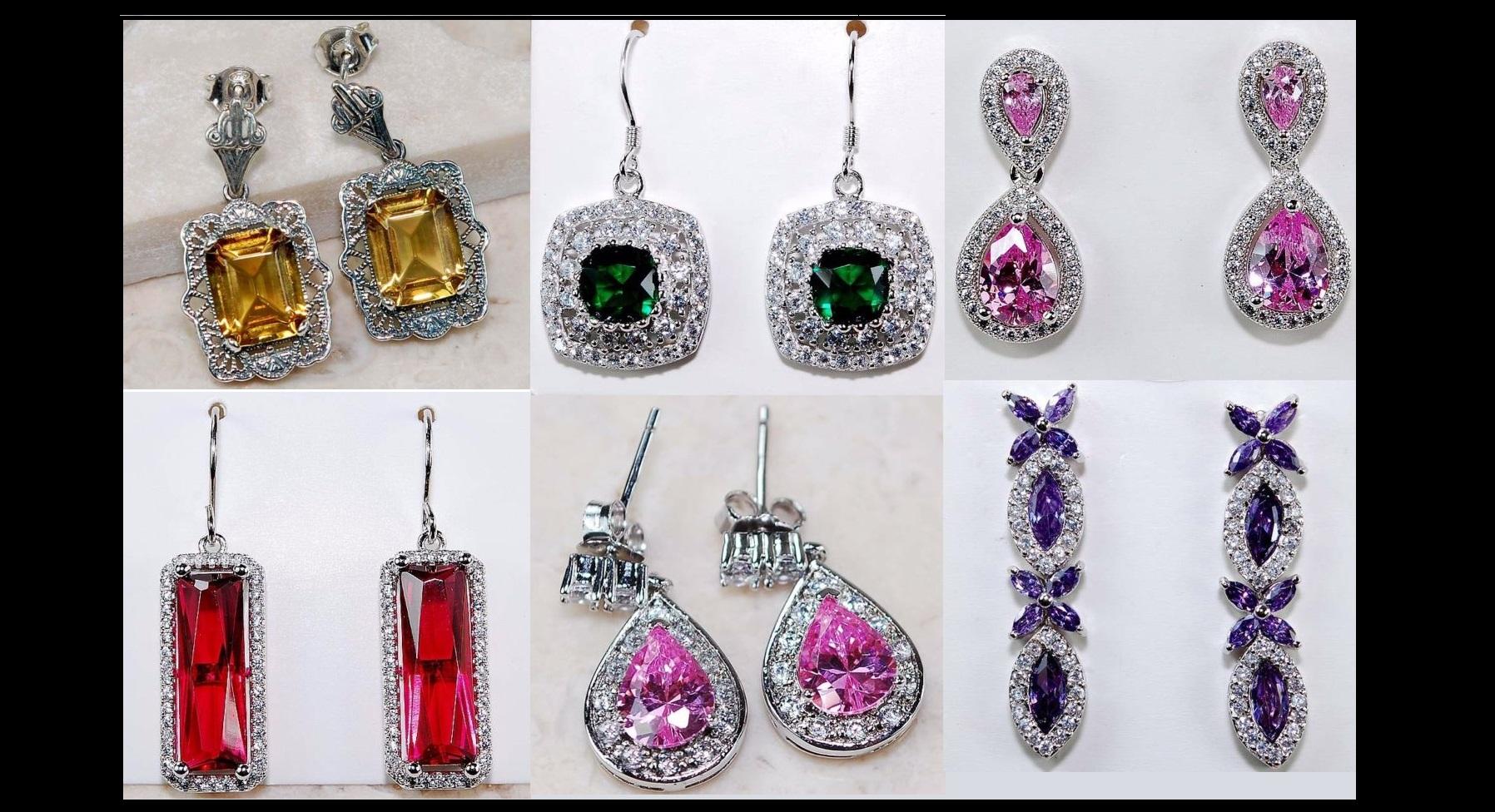 Spectacular Gemstone Sterling Silver Earrings