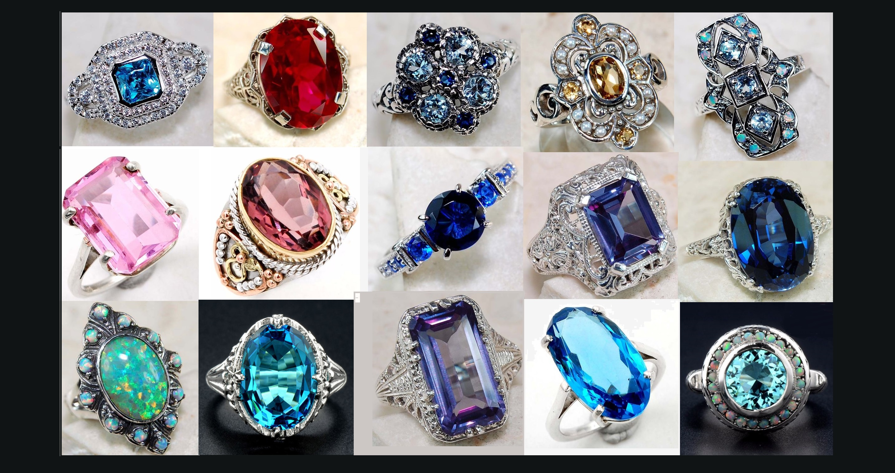 Gorgeous Gemstone Sterling Silver Rings created by Ring Lovers Jewelry