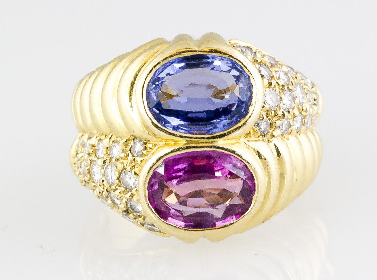 BULGARI 18K Gold Blue & Pink Sapphire Diamond Ring