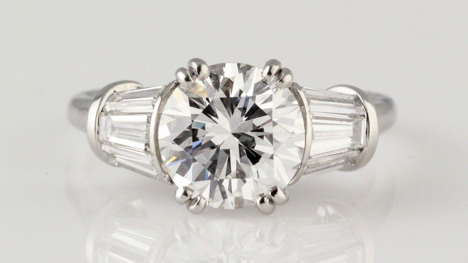 HARRY WINSTON 2.02 Carat E color VS1 Round Diamond and Platinum Engagement Ring