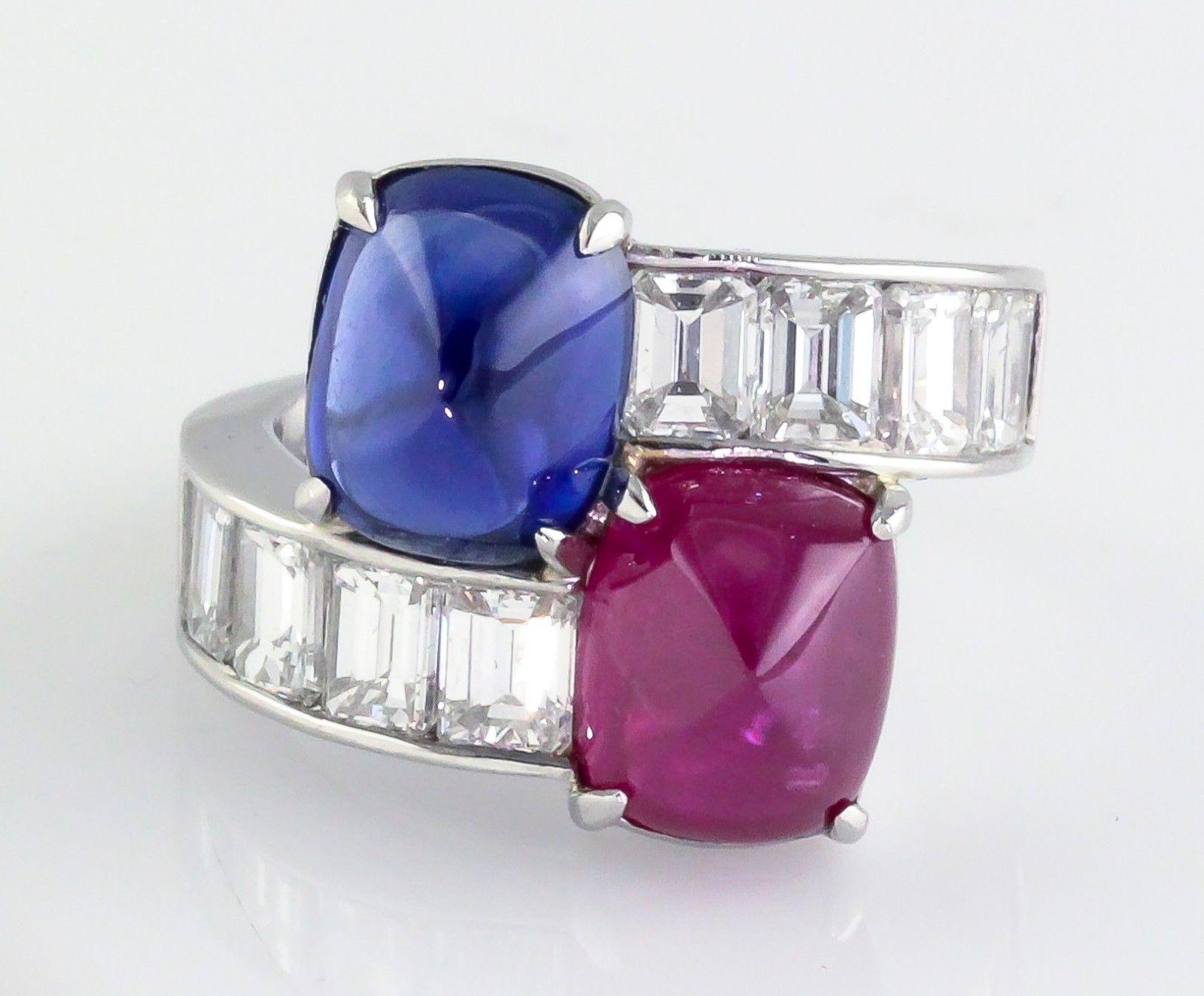 Burma Ruby Ceylon Sapphire Emerald Cut Diamond Platinum Contraire Ring
