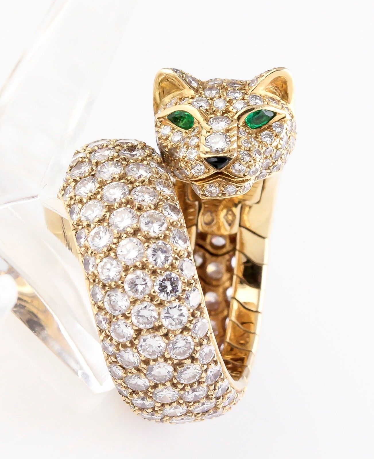 CARTIER PANTHER Diamond Emerald Enamel and 18K Gold Ring