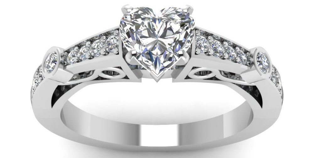 1 Ct Heart Shaped Diamond Elaborate Design Engagement Ring G-Color GIA Certified