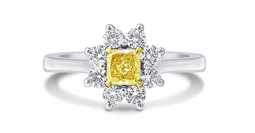 0.69Cts Yellow Diamond Engagement Halo Ring Set in 18K White Yellow Gold GIA