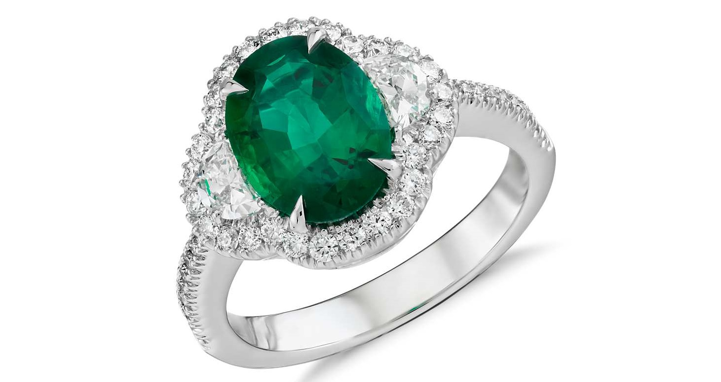 Emerald and Diamond Halo Ring in 18k White Gold (2.01 ct. center)