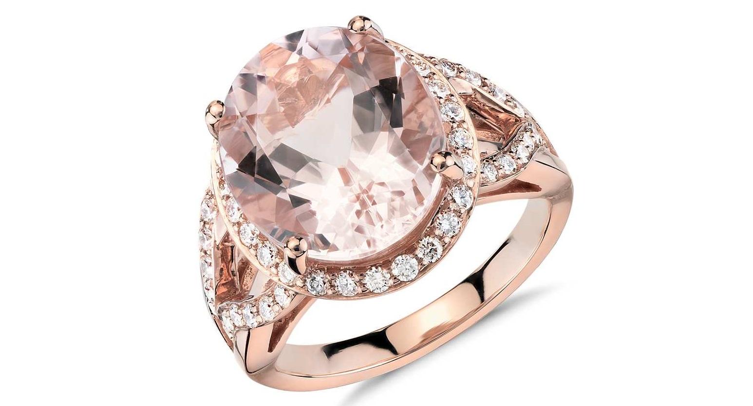 Morganite and Diamond Ring in 18k Rose Gold (13x11mm)