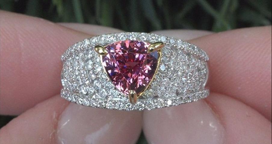 GIA 3.11 ct Color Shift VVS Pyrope Spessartine Garnet Diamond 14k Estate Ring PRIME Exotic Color Shift Gem VS/SI Diamonds
