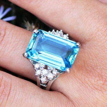 GIA Certified Aquamarine Ring  with Diamonds in 14K White Gold 14.28ctw