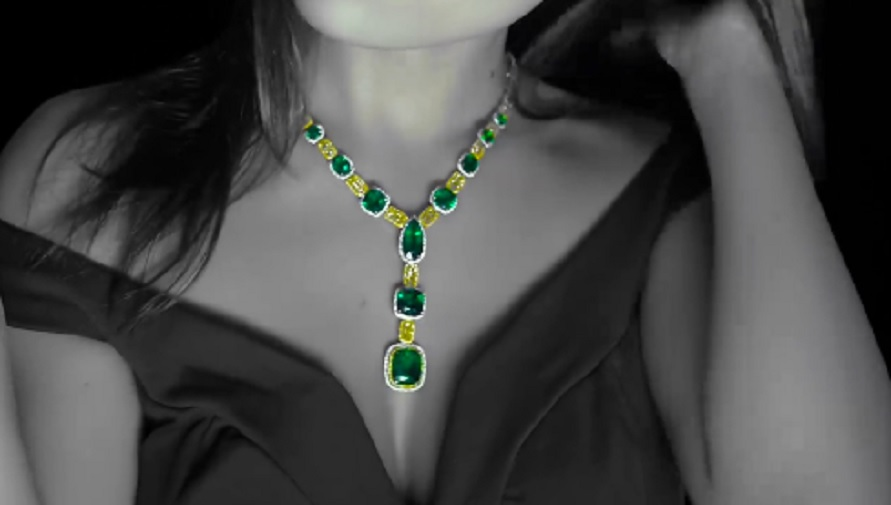 Emerald and Canary Yellow Diamond Necklace