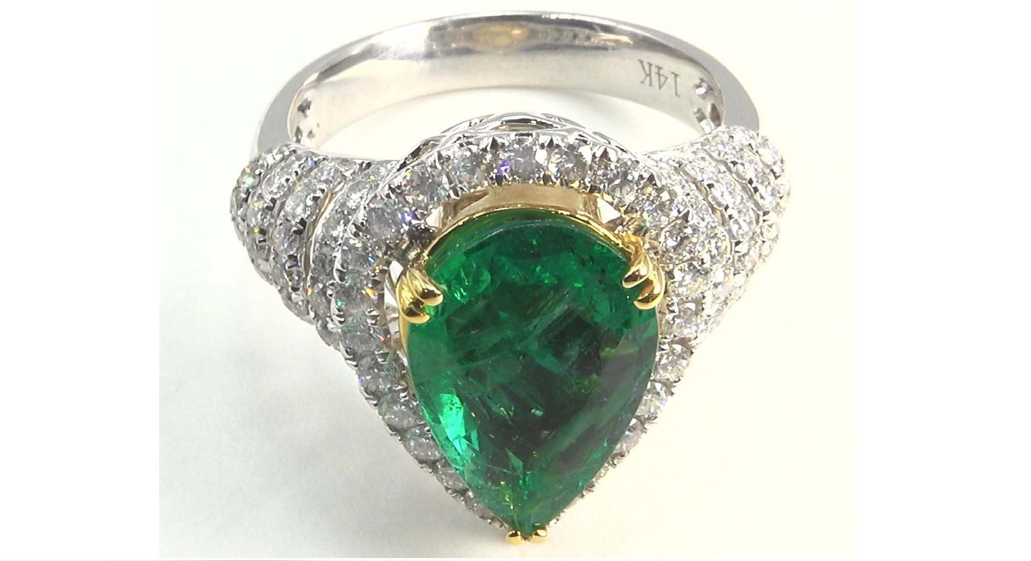 Natural Green Emerald Diamond Engagement Ring 14k Gold 4.86 TCW GIA Certified