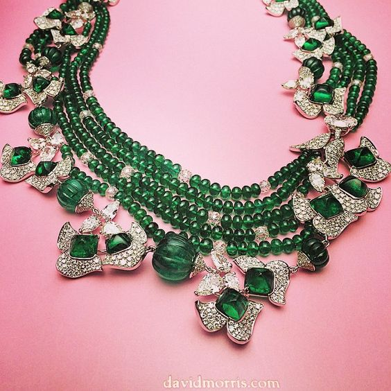 Colombian emerald cabochon and fluted bead necklace with white diamond pear shapes David Morris jeweler