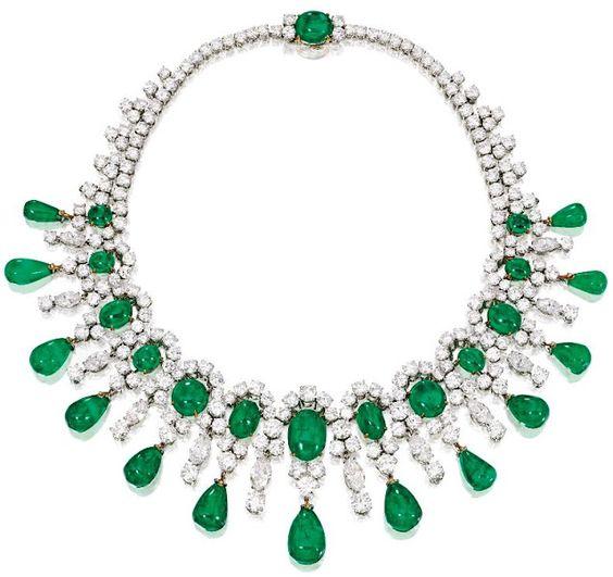 Brooke Astor's Bulgari emerald and diamond necklace, circa 1959