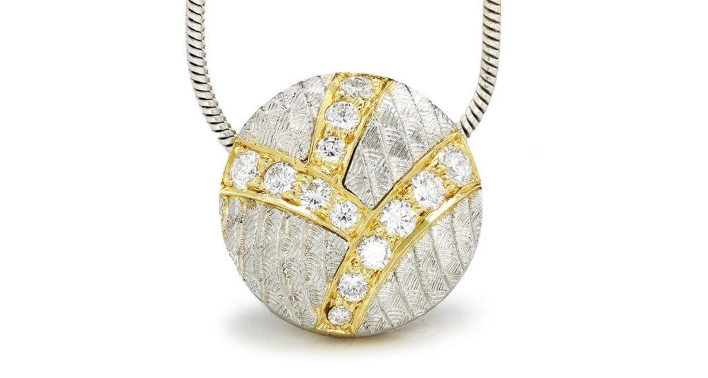 "Diamond Cluster Drop Pendant Necklace in 18Kt Yellow Gold & Platinum 18"" .25ctw"