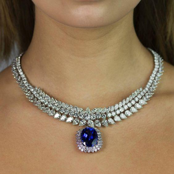 Diamond Platinum Necklace with Tanzanite Drop
