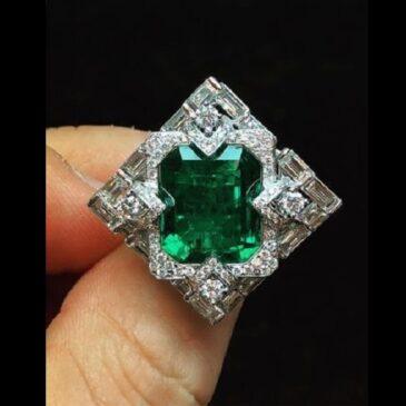 Spectacular 8.08 Carat Chivor Colombian Emerald Ring