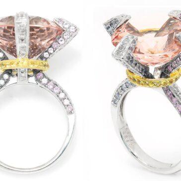 Round Morganite Ring with Diamonds & Sapphires 18K Gold 15.04ctw