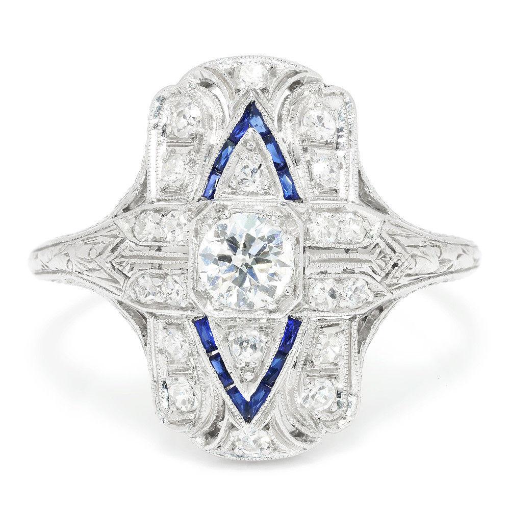 Vintage Art Deco Diamond Ring with Sapphires in Platinum 1.00ctw