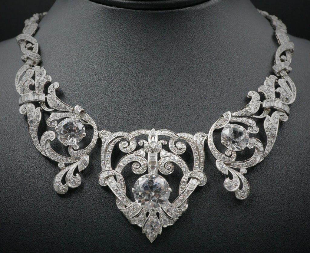 Mae West Celebrity Owned Platinum 23ct Diamond Necklace Bracelet Suite