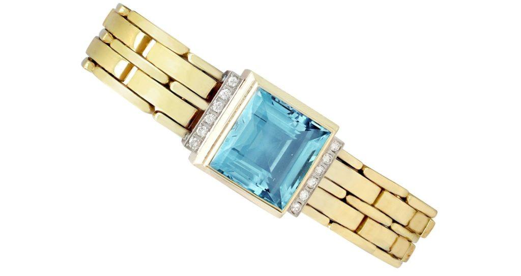 Vintage 21.68 Ct Aquamarine and 0.38 Ct Diamond 14k Yellow Gold Bracelet 1960s