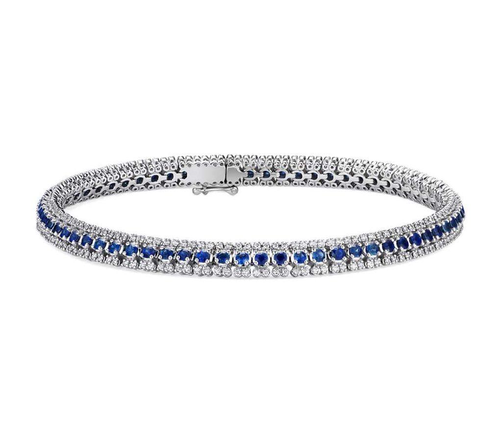 Three-Row Sapphire and Diamond Bracelet in 14k White Gold