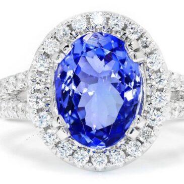Certified Tanzanite Halo Ring with Diamonds 18K White Gold 3.83ctw