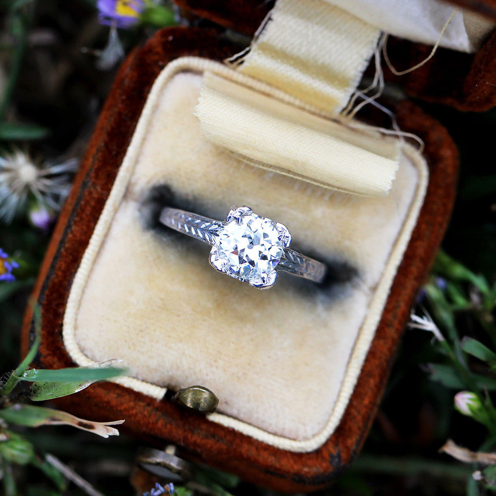Old European Diamond Solitaire Engagement Ring in 20kt White Gold .90 Carat