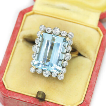 Vintage Aquamarine Ring with Diamonds 14K Two Tone Gold 13.00ctw