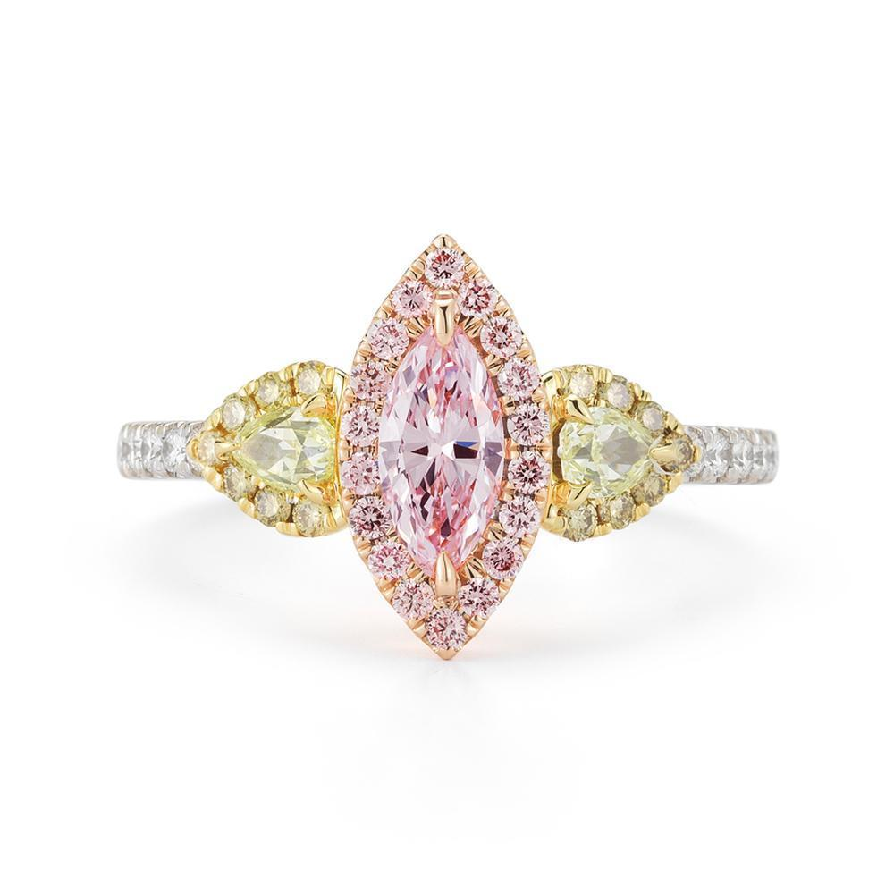 18K White Gold Engagement Pink Diamond Ring 1.17 TW GIA Solitaire Marquise