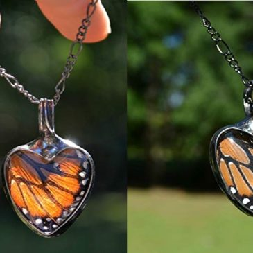 Handmade Monarch Butterfly Wing in Glass Pendant, Heart Jewelry for Women, Tiffany Artisan Necklace