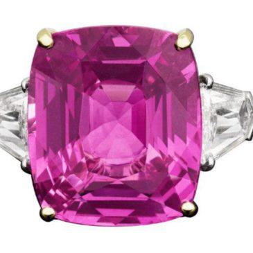 Platinum 20.0 Cttw Natural Pink Sapphire Trilliant (2) Diamond Engagement Ring