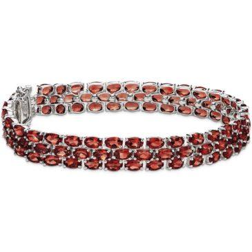 Gorgeous Trio Oval Garnet Bracelet