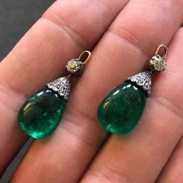 Pair of Emerald and Diamond Pendants, Late 19th Century.