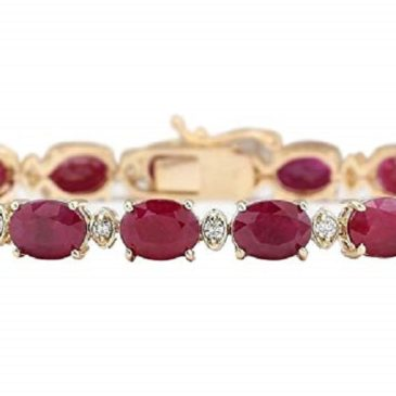 28.58 Carat Natural Red Ruby and Diamond (F-G Color, VS1-VS2 Clarity) 14K Yellow Gold Luxury Tennis Bracelet