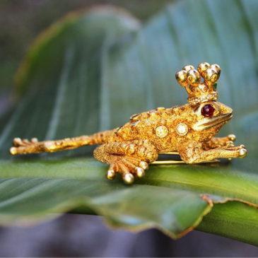 Zadora Frog Prince Brooch 18kt Gold Fancy Yellow Diamond's, Rubies & Emerald