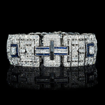 Diamond and Blue Sapphire Antique Art Deco Design 18k White Gold Bracelet
