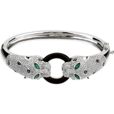 A Gorgeus 14K White Gold Emerald, Onyx & 2 1/2 CTW Diamond Cuff Bracelet