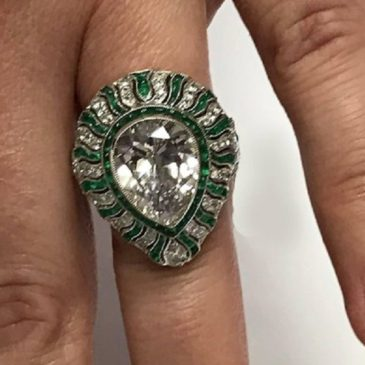 Art Deco Style Emerald and Diamond Platinum Ring