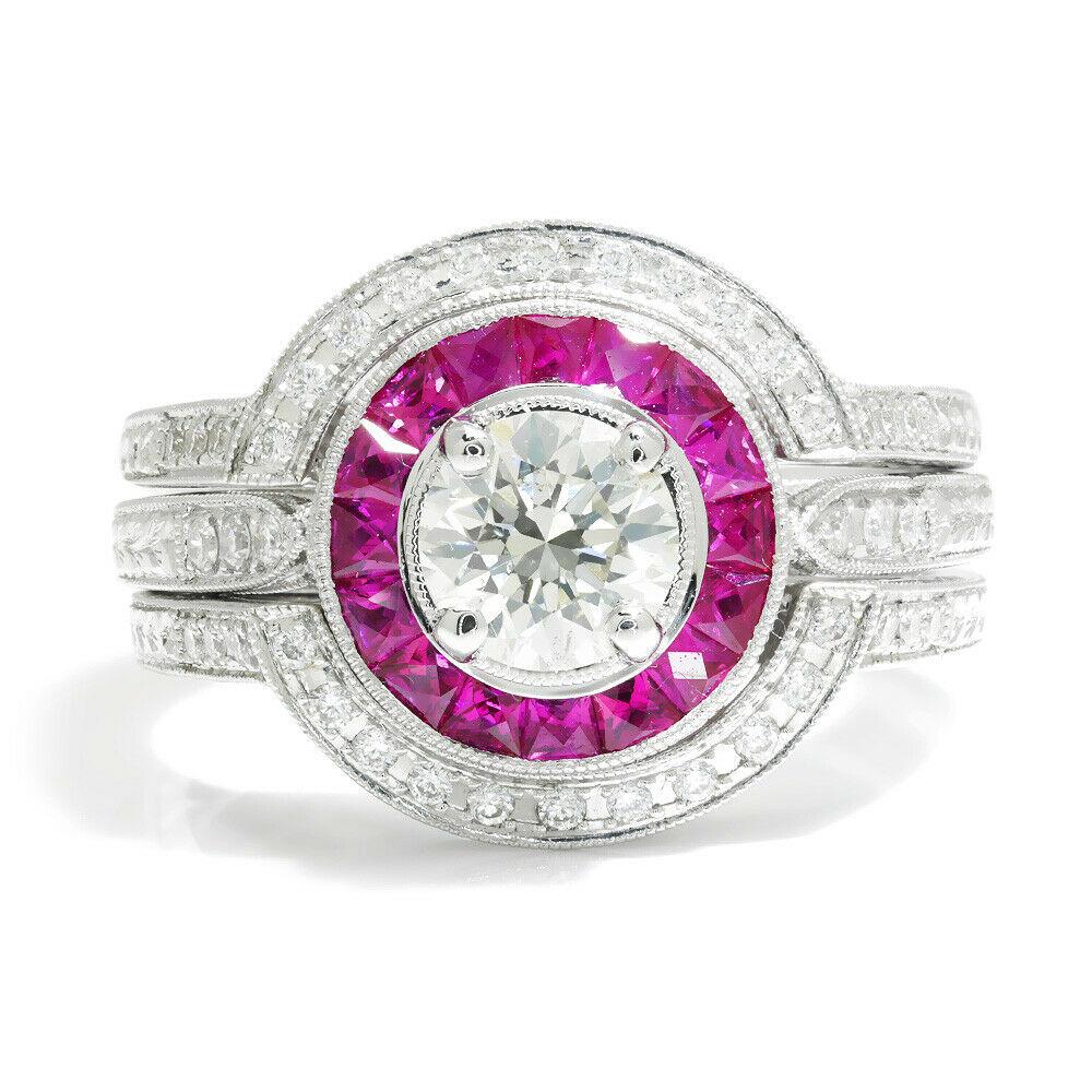 Round Diamond Ruby Halo Engagement Ring Set 18K White Gold 1.41 ctw