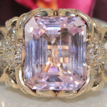 Stunning Zolotas 18k Gold Pink Kunzite Diamond Ring