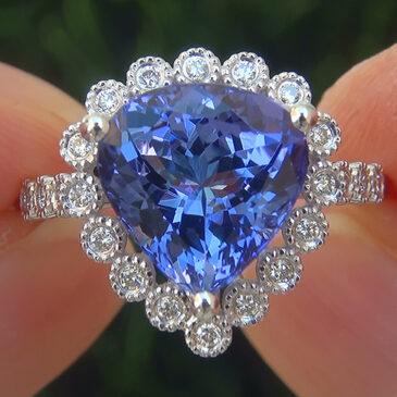A Magnificent GIA Certified 4.31 Ct VVS Natural Tanzanite Diamond 18k White Gold Estate Ring