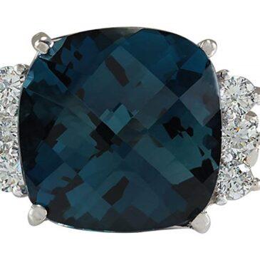 Gorgeous 10 Carat Natural London Blue Topaz and Diamond 14K White Gold Ring