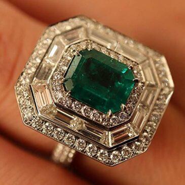 Rachel Koen Natural Colombian Green Emerald Halo Diamond Ring Platinum