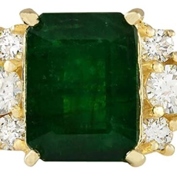 Gorgeous 5.15 Carat Natural Green Emerald and Diamond