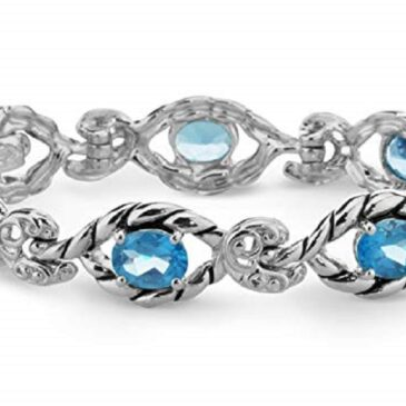 Carolyn Pollack Sterling Silver Multi Gemstone Choice of 4 Different Colors Link Bracelet