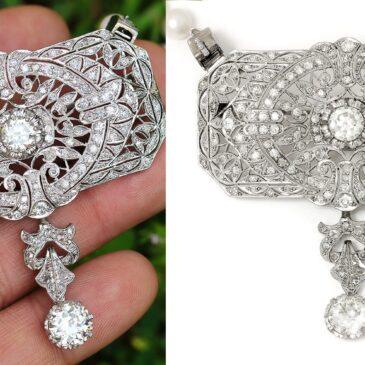 Vintage European Diamond Pendant Pearl Necklace in Platinum 6.39ctw Detachable