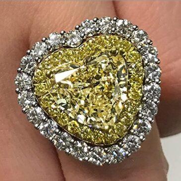 Rachel Koen Fancy Yellow Heart Diamond Platinum Cluster 7.26cts Ring